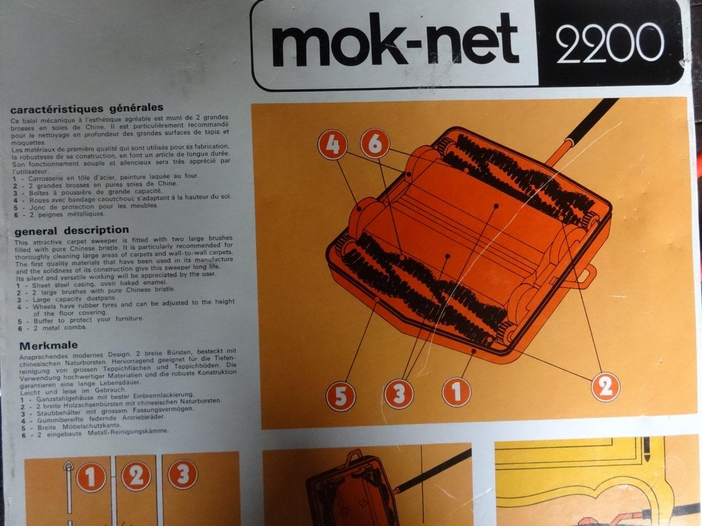Vintage Français boîte non utilisés roulant Mok-Net amina plancher / tapis nettoyage roulant utilisés outil Pinceau circa 1960-70 Shop en anglais 46ad5b