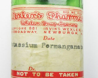 Vintage Early 1900s Collectible Wexler's Pharmacy Bottle with Original Label
