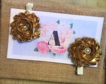 Gold 2 pk of shabby flower clips with  flatback pearl flower centers on ivory ribbon lined alligator clips