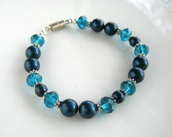 Magnetic Clasp Crystal and Peacock Blue Pearl Bracelet made with Swarovski Crystal Elements Blue Pearls