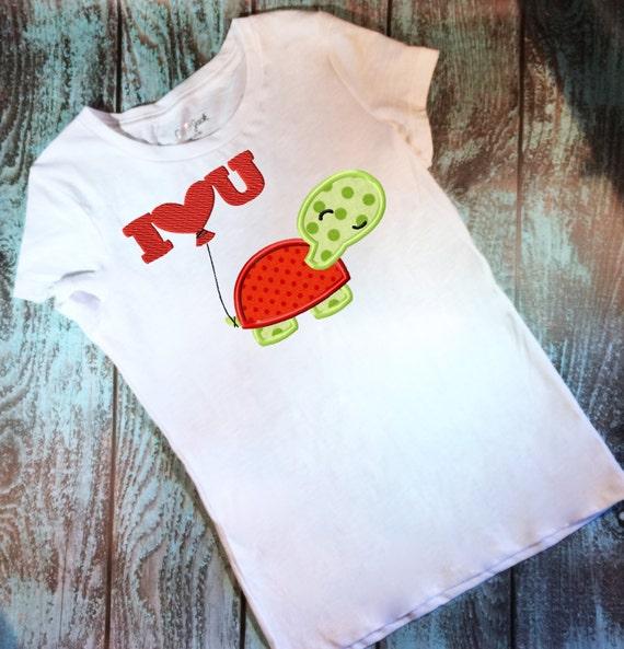 I love U Turtle Appliqué embroidery Design - Valentines Day appliqué design - Valentine appliqué design - turtle applique design