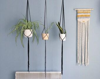 Big-O - Simplistic Macrame Plant Hanger / Black, Grey, Natural & Mustard Hanging Macramé Planter