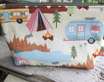 Zippered Pouch | Makeup Bag | Lined Zipper Bag | Camping Theme Fabric | Camper | Camping Bag | Small Gift Under 20 | Camera Accessory Bag