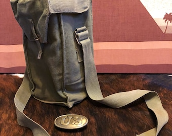 Geniune Canvas Army Green Messenger Bag with Brass Buckle US
