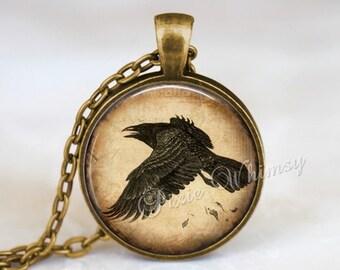 RAVEN Necklace, Raven Pendant, Raven Keychain, Raven Jewelry, Crow Necklace, Black Bird, Bird Jewelry, Sepia Print, Crow Pendant