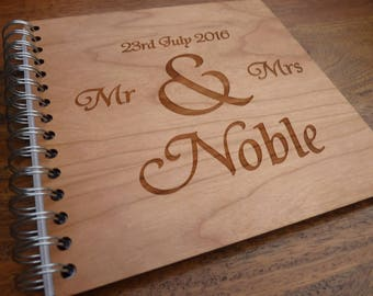 Personalised Wooden Engraved Wedding Guest book - Wood Marriage Guestbook Traditional Rustic