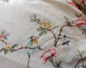 Vintage Twin Flat  Bedsheet Flowers Birds and Butterflies by Springmaid Wondercale