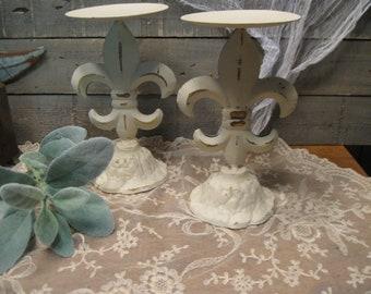 Fleur de Lis Candle Holders - Farmhouse Candleholders - Metal Candleholders - Rustic Figural Holders - Pillar Candle Holders - Farmhouse