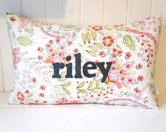 Personalized Name Pillow Cover, 16x24, pink and green floral
