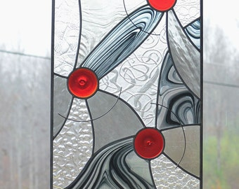 Large Stained Glass Panel, Custom Panel for Bathroom, Leaded Stained Glass Window, Abstract Contemporary Glass Window, 'Moving on'