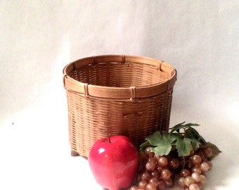 delicate dark brown basket; small footed floor basket, cottage garden wicker planter, waste bin trash can; yesteryears