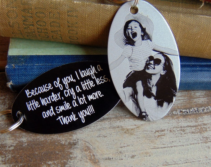 Photo Keychain-Back Engraving-Your Handwriting Option-Mother's Day Gift Ideas- Black Aluminum Custom Key Chain - Laser Engraved- Unique Gift