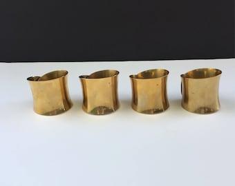 Set of 4 Mid Century Brass Napkin Rings
