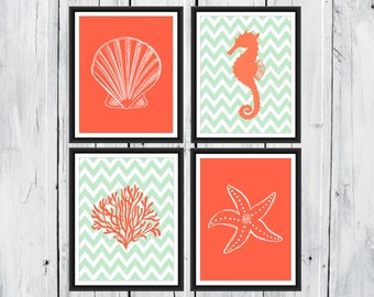 Nautical Sea Life Prints - seaside prints - Beach Decor -  Chevron  Background - Coral