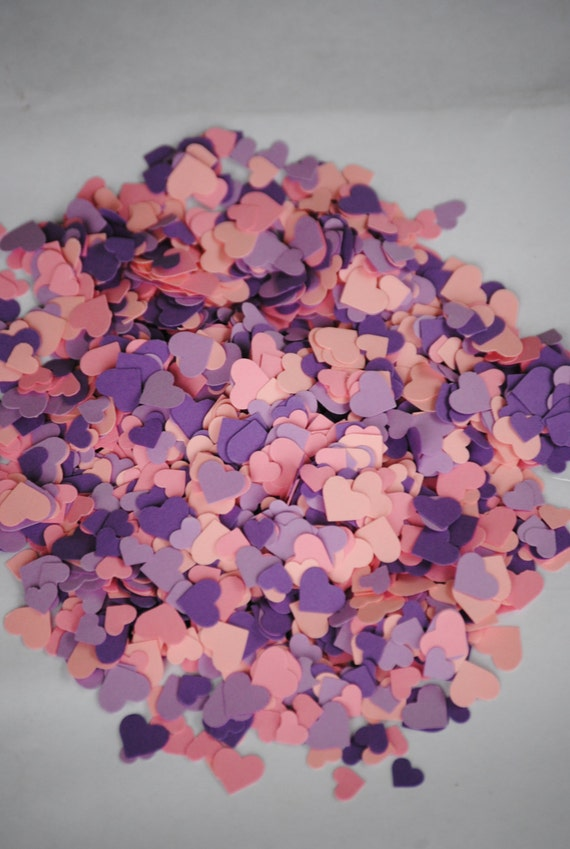Over 2000 Mini Confetti Hearts. Purple & Pinks. Perfect For Weddings, Showers, Decorations. ANY COLOR Available.