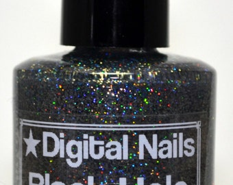 Black Hole: an insane sparklefest of holographicglitter nail lacquer by Digital Nails