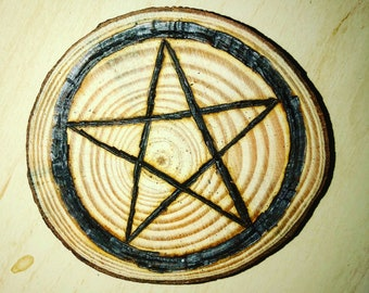 Pentagram magnet, pyrography art, fridge magnet, pyrography magnet