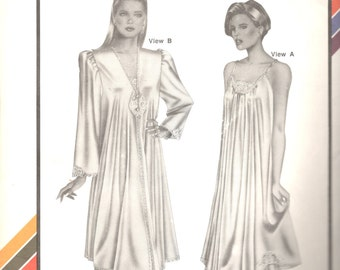 Stretch & Sew 2091 1990s  Misses Peignoir and Nightgown Pattern NEGLIGEE Robe Pattern  Womens Vintage Sewing Patterns  Bust 30 - 46 UNCUT