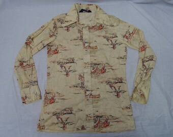 Vintage LEVI'S Western Hunting Graphic Polyester Shirt 70's Butterfly Collar Top Sz-M 1970's