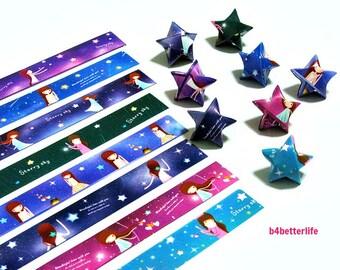 250 strips of DIY Origami Lucky Stars Paper Folding Kit. 26cm x 1.2cm. #C153. (XT Paper Series).