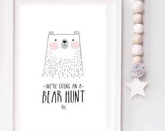 We're going on a bear hunt Modern Monochrome Nursery typography print