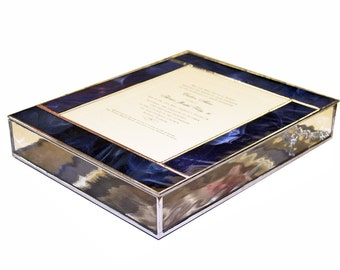 Stained Glass Keepsake Wedding Invitation Display Box With Photo
