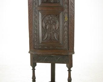 Antique Corner Cabinet, Entryway Organizer, Scotland 1780, Antique Furniture, B974