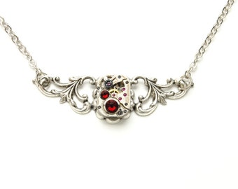JULY Steampunk Necklace, RUBY RED Silver Steampunk Jewelry Watch Necklace Victorian Steam Punk Steampunk Jewelry Victorian Curiosities