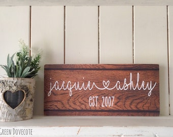 Valentines Gift For Him - Valentines Day Gift - Valentines Day Decor - Family Established Wood Signs - Wedding Rustic Decor