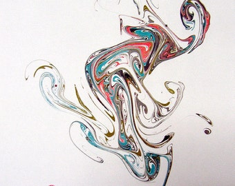 "Inuit - The Original ""Marbled Graphics""TM by Robert Wu, Original Marbling Art, Marbled Paper"