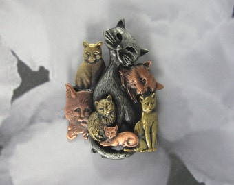 Cat Brooch- Cat Lover Gift- Cat Pendant- Cat Necklace- Cat Rescue- Mixed metal jewelry - Cat Crazy Lady
