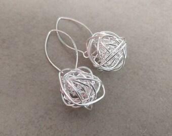 Silver Wire Earrings, Silver Earrings, Sterling Silver, Dangle Earrings, Silver Long Earrings, Silver Jewelry, Wire Ball Earrings, Tangled