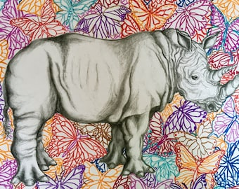 Thick Skinned Rhino with Butterflies