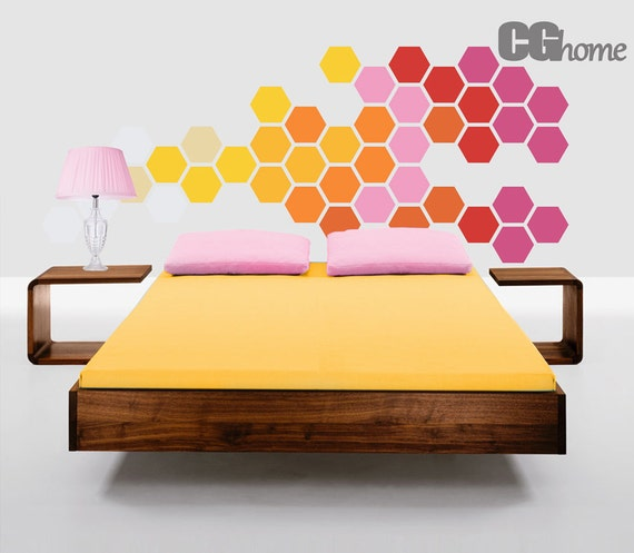 hexagon wall decal Self Adhesive Removable Decor Pattern RAINBOW bedroom wall decal HEADBOARD honeycomb HEXAGON sticker CGhome