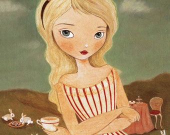 A Tea Party Print 8x10 - Alice In Wonderland Art, Girl Art Print, Nursery Art, Children's Art, Girls Room Art, Poster, Art for Children