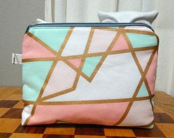 Blush and Mint Geometric Makeup Bag