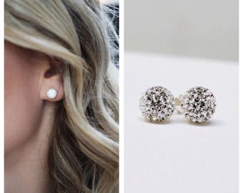 Stud earrings,Sterling silver stud earrings, small stud earrings Sterling silver crystal studs, crystal studs, Pave stud earrings, studs