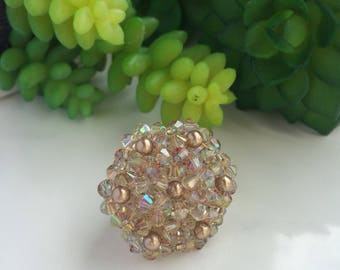 Hex Ring, Handmade Hexagon bead weaving ring