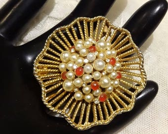 Vintage Kramer Cluster of Faux Pearls, Carnelian Coloured  Glass Cabochons and Rhinestone Brooch