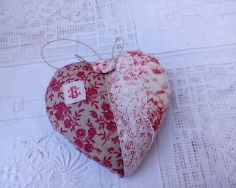 heart hanging purple flowered cotton and lace