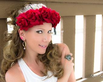 Red Rose Flower Crown, Flower Headband, Festival Headband, Hippie Headband, Bohemian Headband, Bridal Headband, Bridesmaid Headband