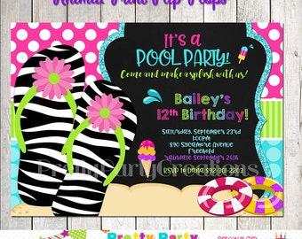 Animal Print FLIP FLOPS beach or pool party invitation - You Print