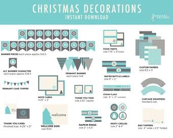 Christmas Printables - Christmas Decorations  - Printable Party Pack - Christmas Party Decorations -