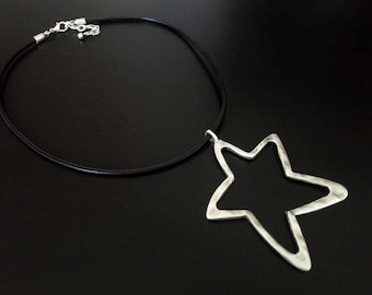 Leather Necklace | Silver Plated Necklace | Collar | Ethnic Necklace | Minimalist Necklace | Bohemian Necklace | Star Pendant Necklace