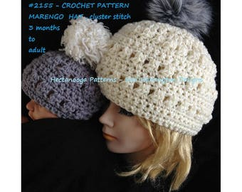 crochet hat pattern- baby, child, toddler, teen, adult, for men or women, Marengo Hat, with cluster stitch, #2155