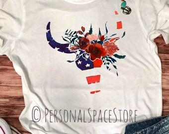 American Bull Skull Boho Floral T Shirt