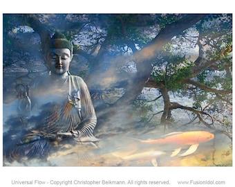 Zen Buddha Art Canvas - Universal Flow Buddhist Art with Koi Fish by Christopher Beikmann - Blue Green Gray and Orange Tones