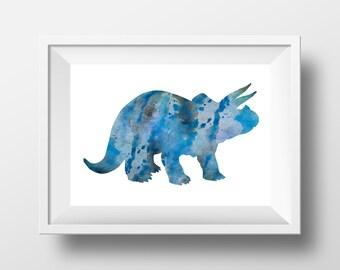 Triceratops poster, blue dinosaur print, art for boys room