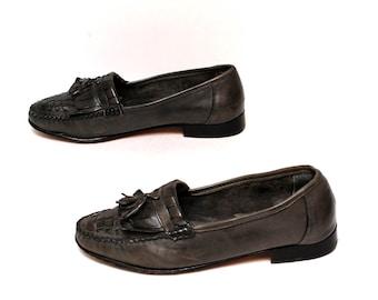 mens size 9.5 grey black leather 80s FRINGE OXFORD slip on loafers