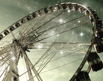 Ferris wheel in Paris . dreamy fineart photograph - romantic wall art, office or home decor French summer spring night sky stars